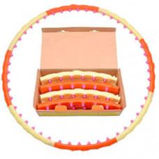 WH-005 - ORANGE & WHITE красно/белый Обруч массажный с магнитами (8 секций и 48 магнитных пластиковых шариков, d обруча-108 см,  d трубки-3,5 см, вес 1,1 кг. Каждый шарик имеет воздушную прослойку. Материал - полипропилен)