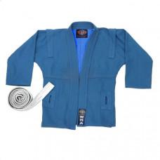 """WSJ-43 р.1/140  Куртка для самбо """"WMA"""" (синяя) (Материал/состав: Куртка плетеная хлопок-100% , плотность 600 гр/м2., с белым Поясом, реокмендуемая температура стирки: t +30 С)"""