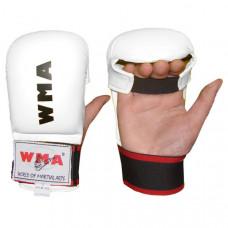 """WKM-326 р. ХL Перчатки для каратэ """"WMA"""" (белые) (Материал: ПУ, машинная набивка ПУ, в подарочной упаковке)"""