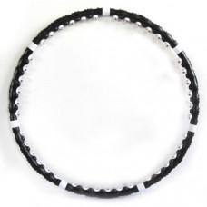 WH-043 Обруч Массажный разборный (черный) (7 секций, 77 пластиковых шариков из которых 42 магнитных, d обруча-110 см,  Каждый шарик имеет воздушную прослойку. Материал - полипропилен)