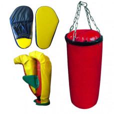7041 ДНЦ 5 Набор бокс детский (5 предметов) груша+2 перчатки+ 2 лапы (Цепь)