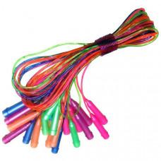 H09989 Скакалка 2,5 метра (разноцветные) 10 штук (ручки-пластик, штур ПВХ с резиновым наполнителем, толщина шнура 3,8 мм.)
