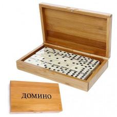 H10097 Домино с шариком в бамбуковой коробке (19х22см)