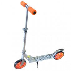 F11798 Самокат (Серебро/Оранжевый (колеса 190 мм., ручки и колеса оранжевые)