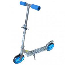F11799 Самокат (Серебро/Синий) (колеса 190 мм., ручки и колеса синие)